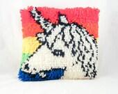 Hand Hooked Shaggy Unicorn and Rainbow Yarn Pillow