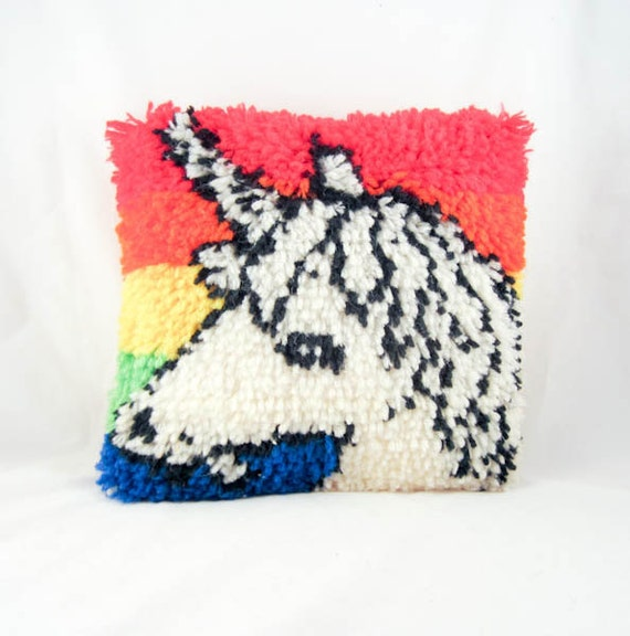 Hand Hooked Shaggy Unicorn and Rainbow Yarn Pillow
