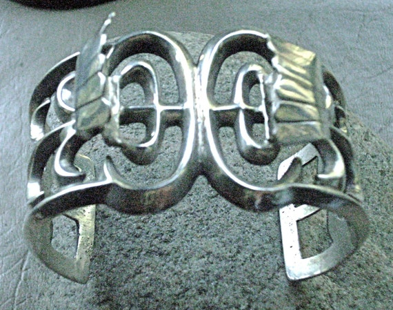 """Sand Cast """"Old Pawn' Coin Silver Watch Cuff"""