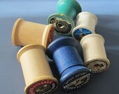 6 vintage wooden spools for crafts