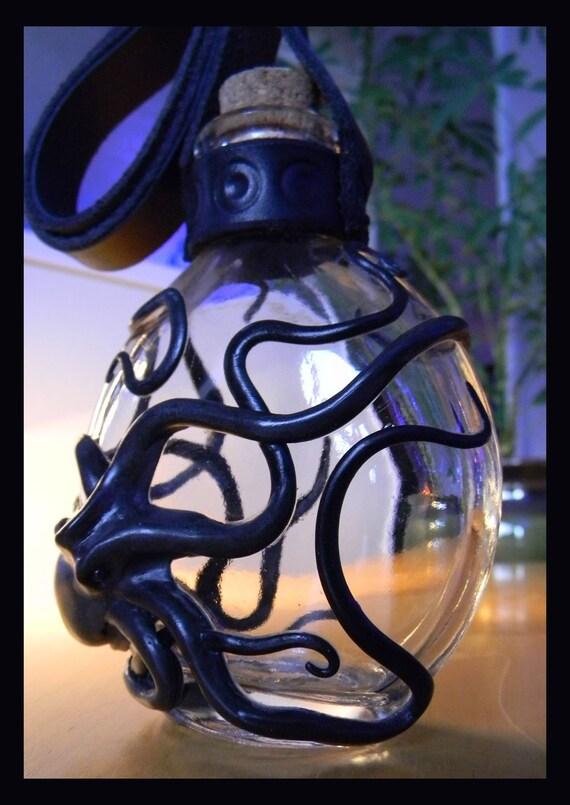 """The """"Onyx Octopus"""" Kraken Flask, Sculptural Glassware."""