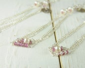 Set of Three Pink Sapphire Bracelets, Bridesmaid Monogrammed Gift Sets, Bracelets, Sterling Silver,  Personalized Holiday Gifts