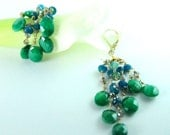 Statement Emerald Earrings, Emerald Bridal Earrings, Couture Bridal Earrings, 18K Gold Bridal Earrings