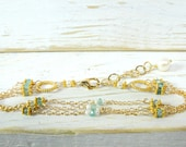Dainty 3 Strand Bracelet with Apatite and Gold, Bridal Jewelry, Something Blue Ideas, Bridesmaid Gifts and Favors