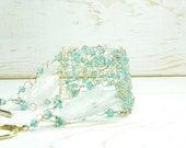 Apatite and Aqua Marine Crochet Bracelet:/Aqua Marine Crocheted Bridal Bracelet/Crocheted Gold Bracelet