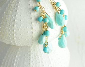 Turquoise Cluster Earrings, Bridal Jewelry, Bridal Earrings Blue