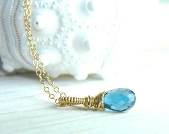 Dainty London Blue Topaz Jewelry/Bridesmaid Thank You Gifts/ Will You Be My Bridesmaid, London Blue Topaz Dainty Necklace, Topaz Jewelry