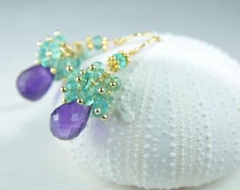 Jewelry, Earrings, Amethyst Earrings, Apatite Cluster Earrings, layered, bridal jewelry, bridesmaid jewelry, gifts