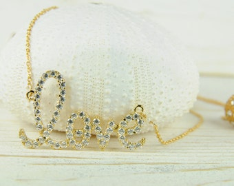 Love Necklace in Gold, Weddings, Bridesmaid Gifts and Favors,  Bridal Jewelry