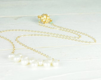 Jewelry, Necklace,Pearl Necklace, Dainty, Gold, Magnetic Closure, Simple, Minimal, Bridal Jewelry, Bridesmaid Jewelry,