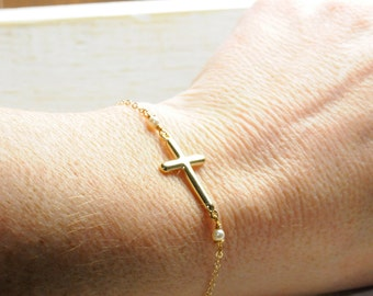 Holiday Gift Ideas, Stocking Stuffer Gifts, Gifts for Teens, Gold Dainty Side Cross Bracelet/ Gifts for Her/  Side Cross Gifts/ Gold Jewelry