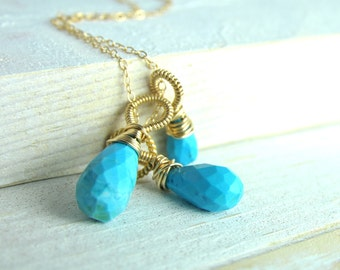 Turquoise Necklace, Simple Turquoise Jewelry, Bridesmaid Gifts, Turquoise Weddings