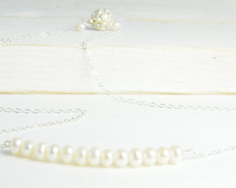 Dainty Pearl Necklace in Sterling Silver:) Dainty Simple Necklace, Bridal Jewelry, Bridesmaid Gifts