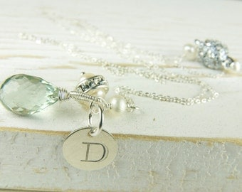 Initial Necklace, Mint, Monogram Necklace, Bridesmaid Jewelry