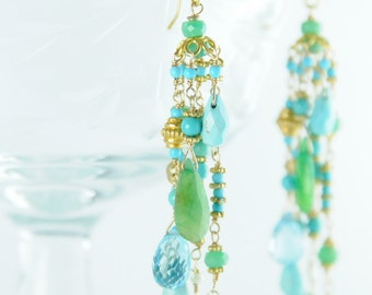 Turquoise Chandelier Earrings, Gemstone Cascading Statement Earrings, Bridal Statement Earrings