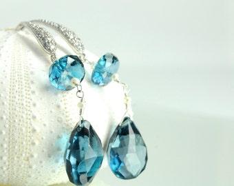 Holiday Gift Ideas, Decembers Birthstone, Blue Bridal Earrings on Etsy,  Bridal Earrings, London Blue Topaz Bridal Earrings