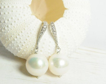 White Pearl and Diamond Bridal Earrings:) Bridal Statement Earrings, Pearl Bridal Jewelry