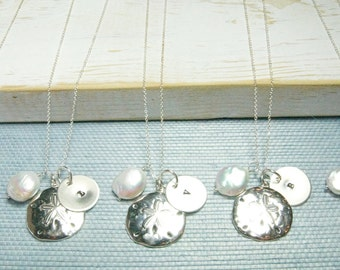 Set of Five Bridesmaid Sand Dollar Personalized Initial Necklace:) Bridesmaid Jewelry Sets