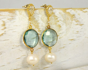 Apatite and Pearl Bridal Earrings/Gemstone Pearl Earrings/Gemstone Blue Earrings