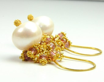 Pink Sapphire and Pearl Cluster Earrings, Cluster Gemstone and Pearl Earrings, Cluster Pearl Earrings