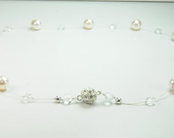 Dainty and Simple Pearl and Crystal Necklace on Silk