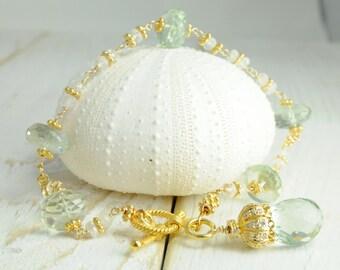 Mint Green Bridal Bracelet in Gold,  Bridal Statement Bracelet, Mint Green Jewelry, Mint Green Bridal Bracelet, Statement Bridal Jewelry