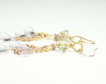 Pastel Color Bridal Earrings, Pastel Bridal Jewelry, Pastel Bridal Earrings for Brides, Soft Dangled Bridal Earrings