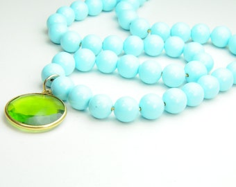 Bright Turquoise and Peridot Necklace in Gold