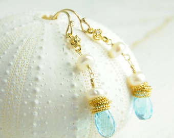 Dainty Something Blue Topaz Earrings, Bridesmaid Gifts, Matron of Honor Ideas, Bridal Colllection