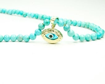 Evil Eye  Pendant with Vintage Italian Turquoise Necklace