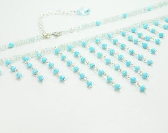 Aqua Marine and Blue Turquoise BIB Necklace Bridal Jewelry, Turquoise Jewelry