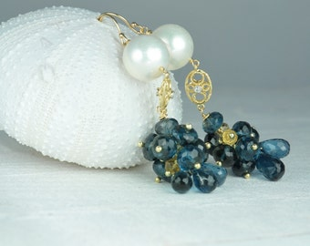 Blue Topaz and Pearl Earrings, Something Blue Bridal Statement Earrings, Bridal Statement Earrings, Custom Bridal Earrings