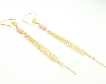 Dainty Delicate Chains of Gold with Angel Skin Coral Earrings