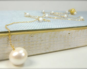 Dainty Pearl Necklace in Gold/Drop Pearl Necklace/Bridal Drop Pearl Necklace