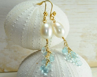 Dainty Dangle White Pearl Earrings/Bridal Earrings/Topaz Dainty Earrings/ Something Blue Earrings