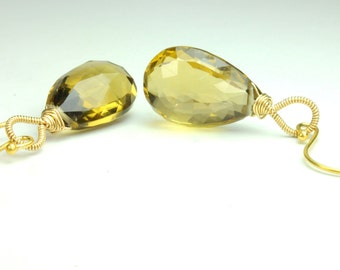 Bear Topaz Teardrop Earrings in Gold:) Fall Weddings