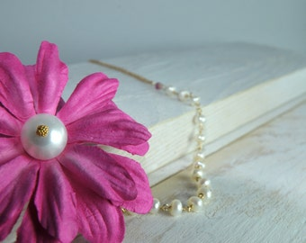 Jewelry, Flower Necklace, Bridesmaid Jewelry, Bridal Jewelry, Fabric Pink Flower and Pearl Necklace
