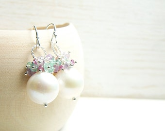 Fine Jewelry/Colorful Cluster Pearl Earrings in Sterling Silver/Colorful Wedding Earrings/Lillyput Lane Design Company Sample Sale