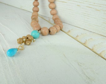 Gifts for Her, Luxury Gifts, Holiday Party, Holiday Gifts, Statement Necklace, Wood Necklace, Sleeping Beauty Turquoise