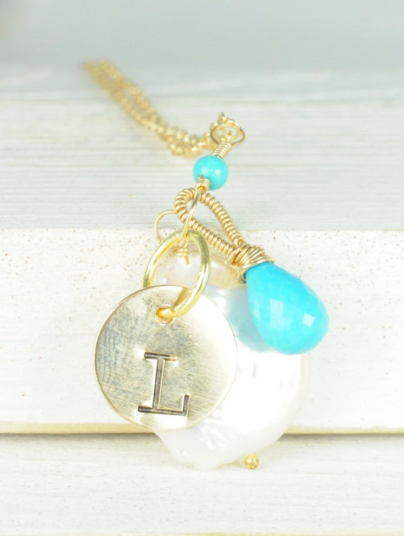 Personalized turquoise charm necklace