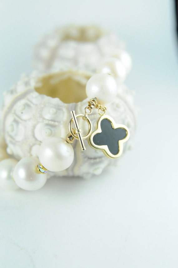 Bridal Bracelet with Clover Onyx Cross,Clover Onyx Cross Bracelet with White Pearls, Pearl Bracelet Sale