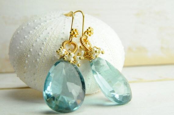 Wedding Jewelry/Bridal Topaz Earrings/Cluster Pearl and Topaz Bridal Earrings