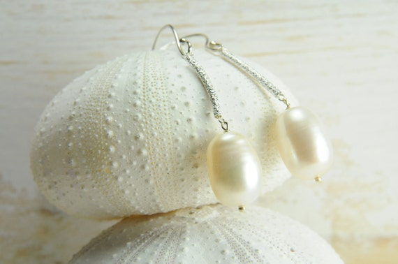 Dainty Sterling Silver Pearl Earring:) Perfect Bridal Earring