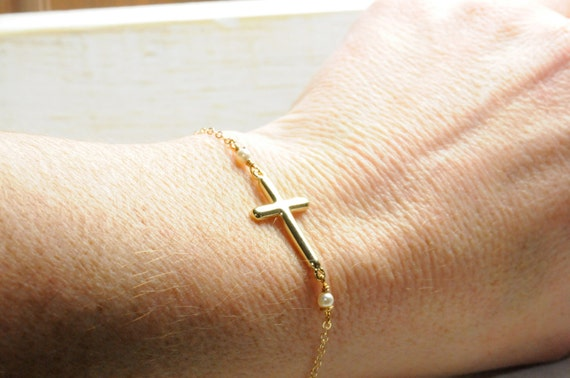Gold Dainty Side Cross Bracelet/ Gifts for Her/  Side Cross Gifts/ Gold Jewelry, Dainty Gift Ideas, Holiday Gifts, Stocking Stuffer Ideas