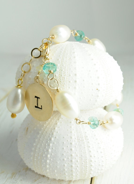 Personalized Initial Charm Bracelet,  Bridal Jewelry, Bridesmaid gifts, with pearls and Apatite