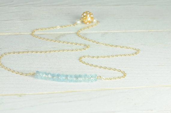 Dainty Bridal Necklace:) Something Blue Necklace, Simple, Something Blue, Aqua Marine, Magnetic Closure, Delicate, Bridesmaid Jewelry,