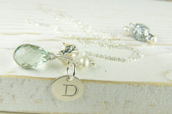 Mint gemstone initial necklace