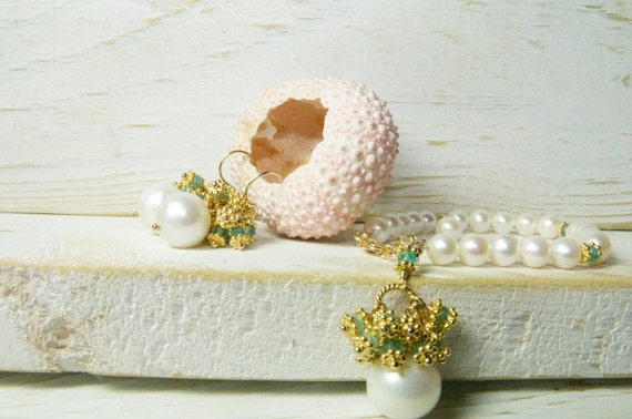 Pearl Drop Earring Cluster and Bracelet Bridal Set, Cluster Pearl Drop Earrings, Brida Jewelry, Bridesmaid Ideas