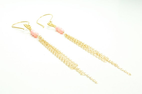 Delicate Chains of Gold with Angel Skin Coral:) Earrings
