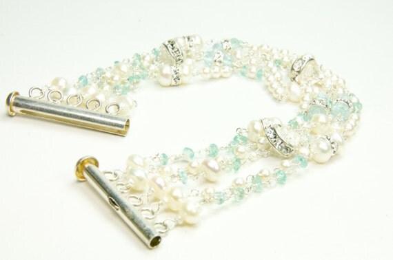 Strand Bridal Bracelet/Multi Strand Bridal Bracelet/Dainty Pearl Strand Bridal Bracelet